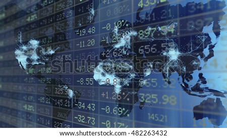 Conceptual Display of Stock market With business blending mode image.