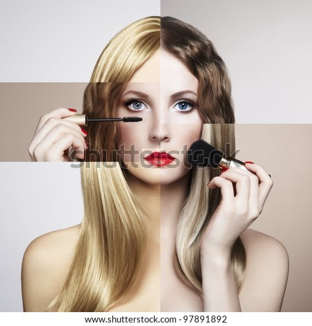 Conceptual fashion portrait of a beautiful young woman. Conceptual collage - stock photo