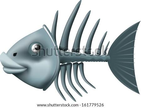 Conceptual fish skeleton isolated on white background - stock photo