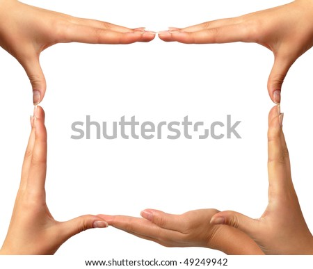 Conceptual frame made from female hands isolated on white background - stock photo
