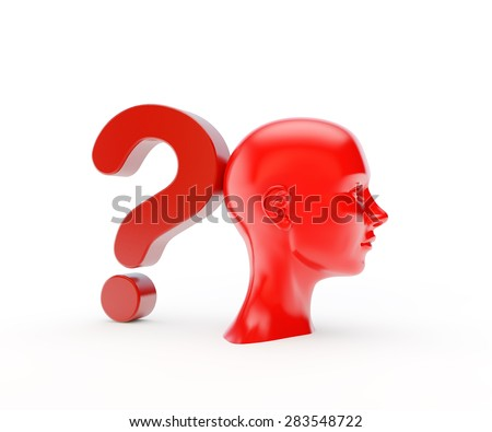 conceptual girl's face with a question mark - stock photo