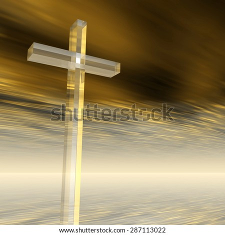 Conceptual glass cross or religion symbol silhouette on water landscape over a sunset or sunrise sky with sunlight clouds background for God, Christ, Christianity, religious, faith, Jesus or belief - stock photo