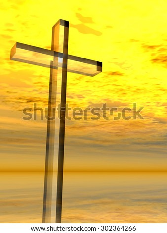 Conceptual glass cross or religion symbol silhouette on water landscape over a sunset, sunrise sky with sunlight clouds background for religion, faith, holiday, God, religious, Jesus or belief designs - stock photo