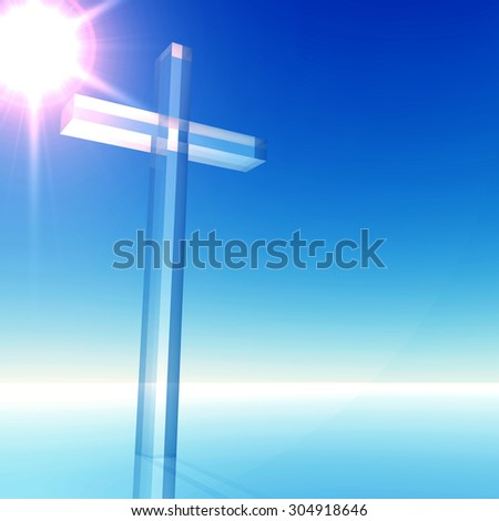 Conceptual glass cross, religion symbol silhouette on water landscape over a blue sky with sunlight clouds background for religion retro, aged, grunge, faith, God, religious, Jesus, belief designs - stock photo