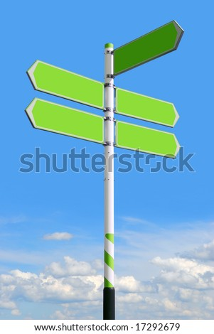 Conceptual green roadsign with empty direction arrows for business solutions or locations, on blue sky background (with clipping path) - stock photo