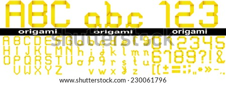 Conceptual group, set or collection of yellow paper origami font isolated on white background, for art, decorative, decoration, school, education, children, craft, hand, ribbon, oriental design - stock photo