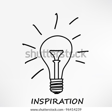 Conceptual hand drawn representation of an idea or inspiration with incandescent lightbulb. Illustration. - stock photo