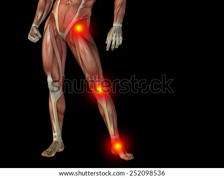Conceptual human man anatomy lower body or health design, joint or articular pain, ache or injury on black background for medical, fitness, medicine, bone, care, hurt, osteoporosis, painful, arthritis - stock photo