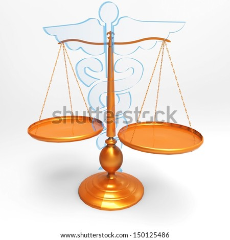 Conceptual idea of justice in medicine - stock photo