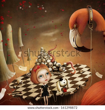 Conceptual illustration for the fairy tale Alice in Wonderland with flamingo and mushrooms. Computer graphics - stock photo