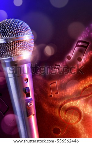 Conceptual illustration microphone with flying notes, brightness and red and blue background. Front view. Vertical composition.