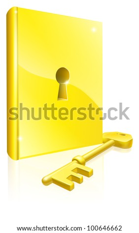 Conceptual illustration of a golden book with lock and key. Could be a concept for access to education, training, literature or learning