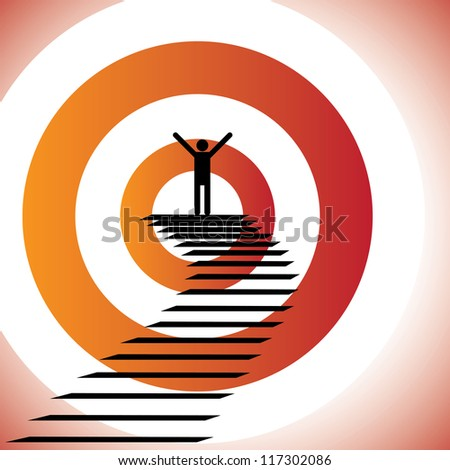 Conceptual illustration of a person reaching goal and winning a challenge/battle. The graphic shows a determined & confident person achieving success by reaching the target and celebrating victory - stock photo
