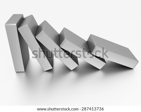 Conceptual illustration of falling bricks which push each other - stock photo