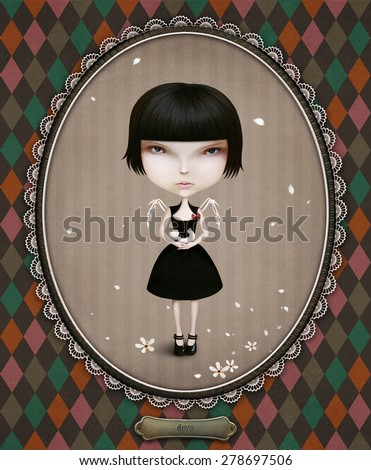 Conceptual illustration of  girl and dove. Computer graphics. - stock photo