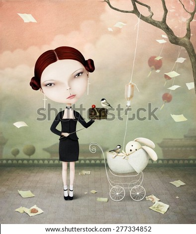 Conceptual illustration of girl with mechanism and rabbit - stock photo