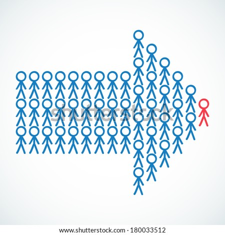 Conceptual illustration of stick figures standing in the shape of an arrow the red colored leader being the tip.