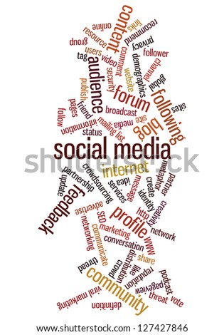 Conceptual illustration of tag cloud containing words related to social media, marketing, blogs, social networks and Internet. Also available as vector. - stock photo