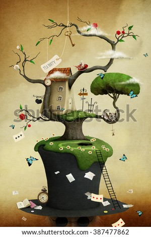 Conceptual illustration of tree with hat and fabulous and fancy objects - stock photo