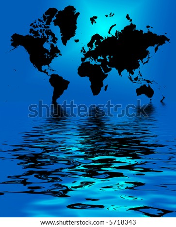 conceptual illustration silhouette of world map good for business background or climate change - stock photo