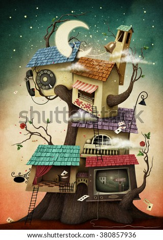 Conceptual illustration with colorful  houses on the tree - stock photo