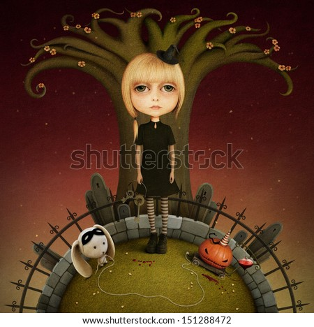 Conceptual illustration with doll, pumpkin, halloween.  - stock photo