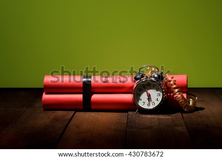 conceptual image about the alarm clock set for six o'clock in the morning before the heavy working day