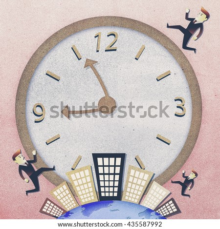 Conceptual image - Business man run on building in rush hours - stock photo