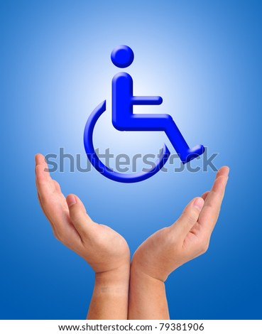 Conceptual image, care for handicapped person. Two hands and wheelchair icon on blue background. - stock photo