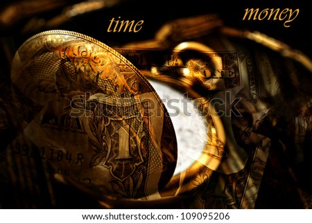 Conceptual image for 'Time is Money'.  Montage created with macro of antique pocket watch blended with photos of US currency.  Text is on solid black background and easily removed. - stock photo