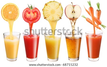 Conceptual image - fresh juice pours from fruits and vegetables in a glass. Photo on a white background. - stock photo