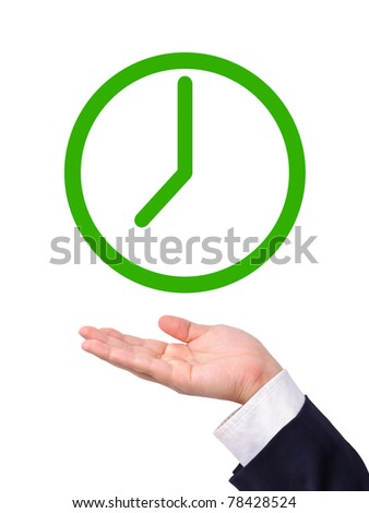 "Conceptual image, green clock icon on business man's hand. Business man can spend time with ""green"" in mind. - stock photo"