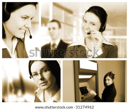 Conceptual image-grid of business photos - stock photo