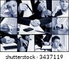 Conceptual image-grid of business photos: hands. - stock photo