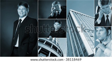 Conceptual image-grid of business photos. Llife businessman - stock photo