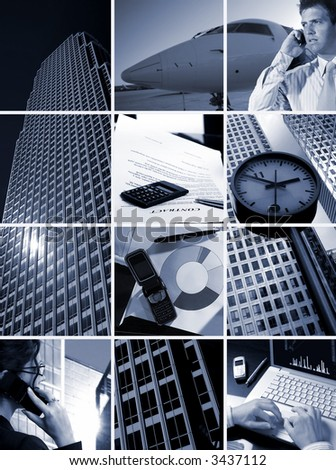 Conceptual image-grid of business photos: 'Time is Money' - stock photo