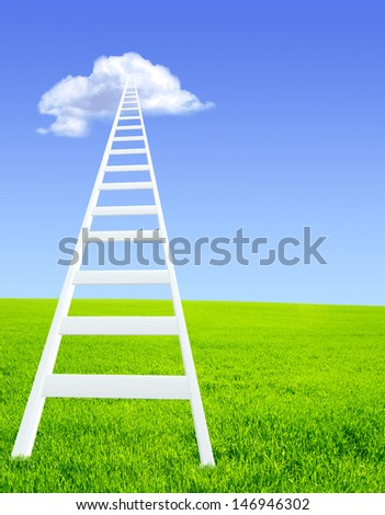 Conceptual image - ladder in the sky - stock photo
