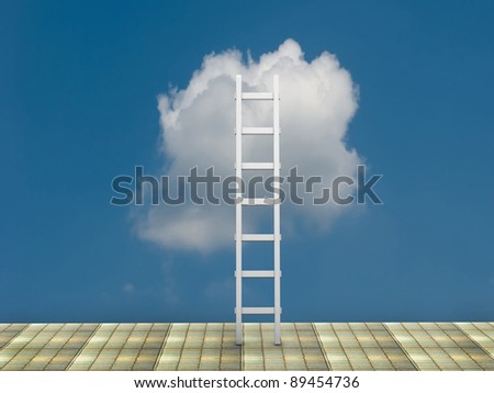 Conceptual image - ladder in the sky - this is 3d render illustration - stock photo