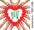 """Conceptual image, love """"green shopping"""". Hands with hearts isolated on white with green shopping cart icon in the middle. - stock photo"""