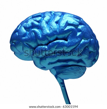 Conceptual image of a blue brain over white - 3d render - stock photo
