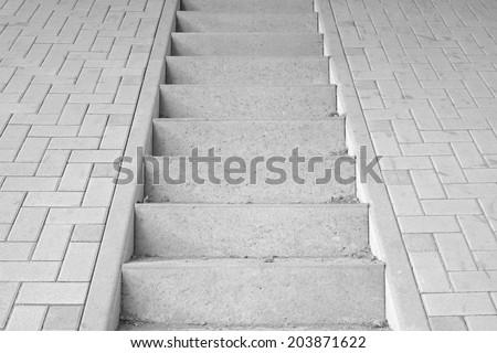 Conceptual image of a concrete staircase leading nowhere - stock photo