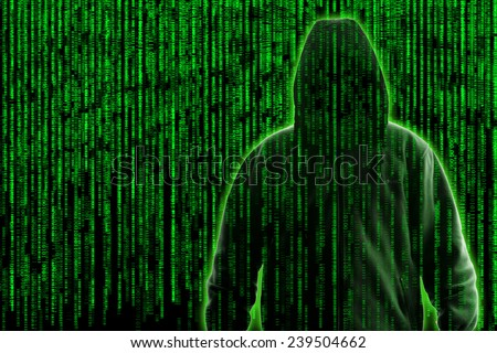 Conceptual image of a hacker on matrix background of falling green computer code digits - stock photo