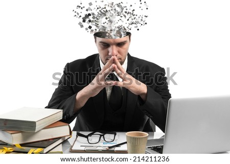 Conceptual image of a open minded Businessman,business plan concept  - stock photo