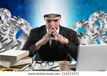 Conceptual image of a open minded Businessman,business solution concept  - stock photo