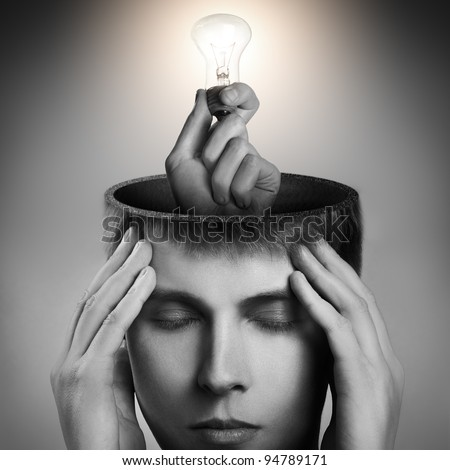 Conceptual image of a open minded man - stock photo