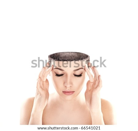 Conceptual image of a open minded woman , lots of copy space - stock photo