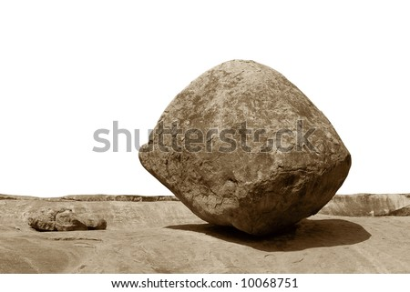 Conceptual image of an isolated balancing rock in Mahabalipuram, India