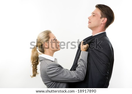 Conceptual image of business lady having fight with her colleague - stock photo