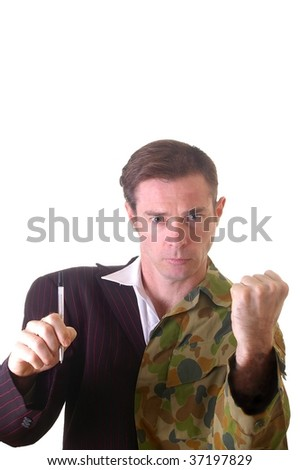 Conceptual image of business man and army man with half shaved head and part suit and part soldier uniform. - stock photo