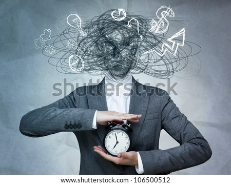 Conceptual image of business woman without head and daily routine icons instead. Artificial intelligence concept - stock photo